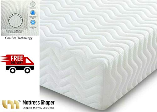 MEMORY FOAM MattressShaper ORTHOPEDIC MATTRESS 2FT 6IN SMALL SINGLE Thickness 8' SUPER QUILTED 7 SENSE Made in the UK. Anti-bacterial, Anti-allergy properties. Medium firm.(6+2)