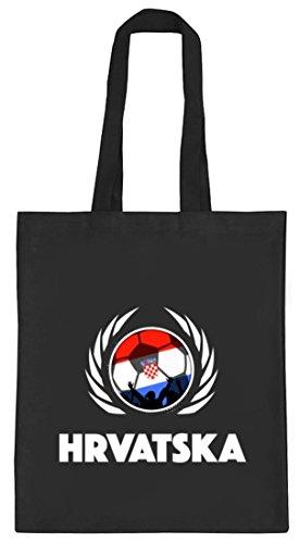 ShirtStreet Hrvatska Croatia Fussball WM Fanfest Gruppen natur Jutebeutel Stoffbeutel Tote Bag Fußball Kroatien, Größe: onesize,schwarz natur
