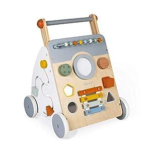 Janod - Carro Multiactividad Sweet Cocoon - Carro de Madera para aprender a caminar - 9 Actividades - Ruedas Silenciosas, Pintura al Agua - Juguete Infantil Adaptable desde los 12 meses, J04410