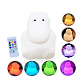 Silicone LED Night Lights for Bedrooms Cute Animal Night Light for Kids with Remote and Touch Sensor Portable Warm White Light & Color Changing RGB Lamps for Baby Girl Baby boy Gifts (Little Hippo)