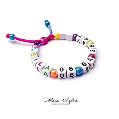 Bracelet de sécurité à personnaliser LEILA + 06 64 35 47 ** NUMERO TÉLÉPHONE avec lettres de l'alphabet et chiffres pour adulte et enfant. Création sur mesure!
