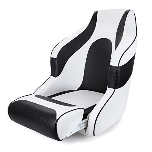 NESHULT Premium Captain Bucket Seat Boat Seat Sports Flip Up Boat Seat,White/Black