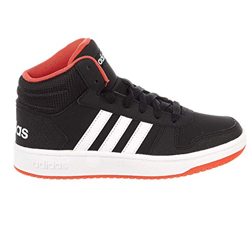 adidas Kids Unisex's Hoops Mid 2.0 Basketball Shoe, Black/White/red, 4.5 Big Kid