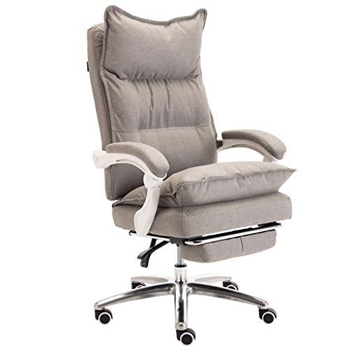 Silla de oficina para el hogar, escritorio y silla para computadora, soporte ejecutivo para la cintura con ruedas, cómodo material de lino, rotación y balanceo de 360 grados, altura ajustable (gri