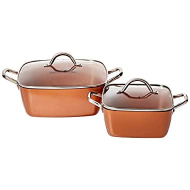 Copper Chef 8  /11  Deep Dish Pan 4 Pc Set