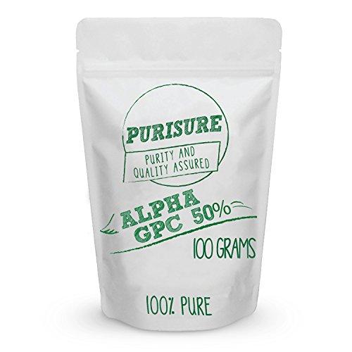 Purisure Alpha GPC 50% Powder   Choline Supplement & Nootropics   Mood Support, Cognitive Enhancer, & Brain Focus Booster   Improves Mental Clarity, Memory Performance & Concentration   167 Servings