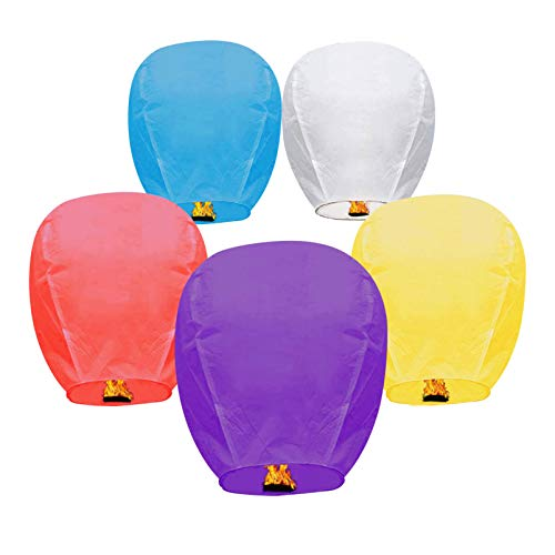 5 Pack Chinese Lanterns Sky Paper Lanterns 100% Biodegradable Environmentally Friendly Wishing Lanterns for Wedding, Birthday Party, New Year Celebration and More