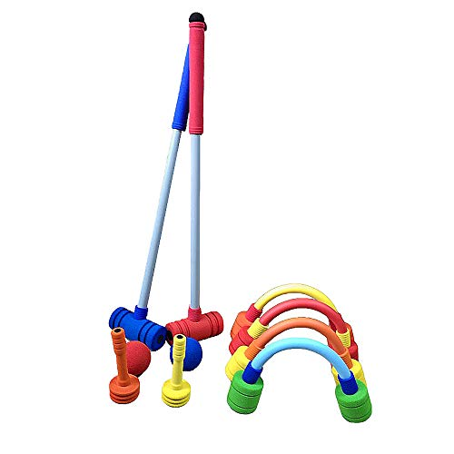Forevive Children's Croquet Set Upgraded version Elastic Sponge Double Croquet Set Indoor and Outdoor Children's Training Rubber Foam Toy Suitable for Lawn, Backyard, Park, Etc