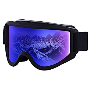Ski & Snowboard Goggles – OTG Snow Glasses for Skiing, Snowboarding & Outdoor Winter Sports – Snowmobile Gear with Anti-Fog Dual-Layer Cylindrical Lens & UV400 Protection – Fits Men, Women & Youth