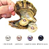 4PC Saltwater Pearl Cultured Love Wish Akoya PearlOyster with Pearl Inside for Pearl Gift Fun for Children Family Friends PartyOyster with Pearls Inside(7-8mm, 4PC)