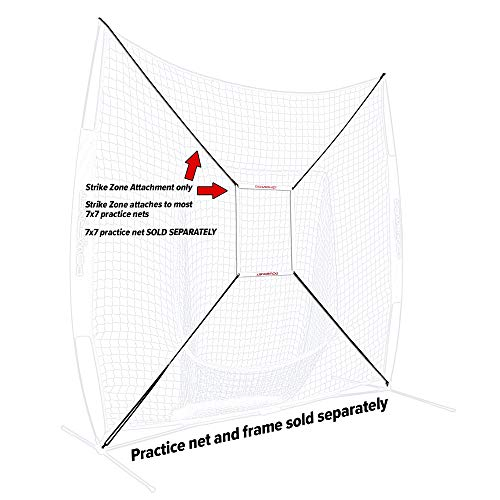 PowerNet Strike Zone Attachment Only | for 7x7 Baseball Softball Net | Work on Pitching Drills and Location Accuracy | Solo or Team Pitcher Training Aid | Instant Feeback on Strikes or Balls Location