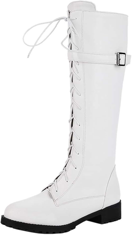 TAOFFEN Women Low Heel Mid Boots Zipper