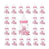 MultiWare 24tlg Babyflasche Set Babyparty Deko Junge Babyshower Taufe Party Gastgeschenk Süßigkeiten Box Milchflasche (Rosa)