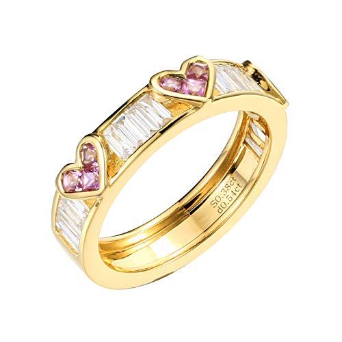 Aeici Anillos Mujer Oro amarillo 18k, Anillo De Compromiso Oro Zafiro Diamante 0.34ct, Corazón, Talla 21