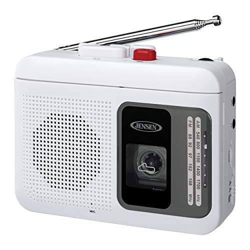 Jensen MCR-75W Modern Retro Portable AM/FM Radio Personal Cassette Player Compact Lightweight Design Stereo AM/FM Radio Cassette Player/Recorder & Built in Speaker (White)