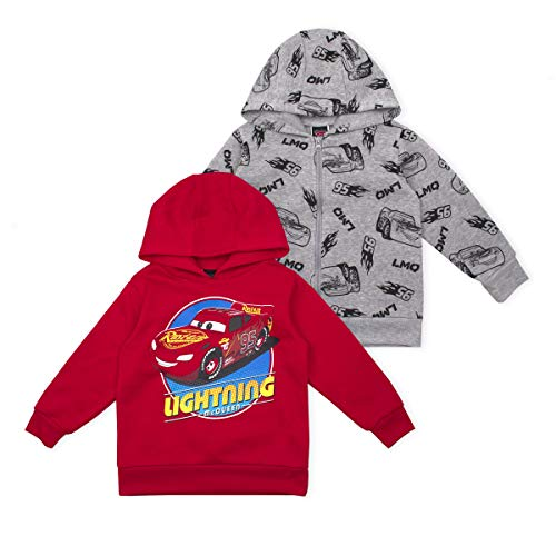 Disney Cars Boy's 2-Piece Lightning McQueen Zip Up Hooded Jacket and Pullover Hoodie Set, Red/Grey, Size 3T