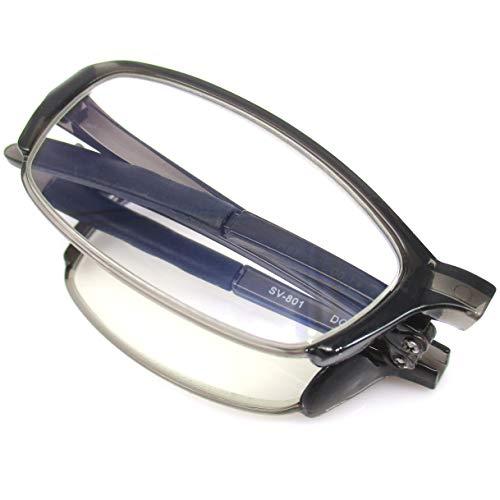 折りたたみ 老眼鏡 携帯 リーディンググラス 軽量 コンパクト ブルーライトカット (グレー +1.50)