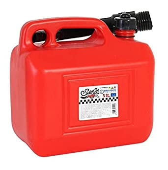 Red Plastic Petrol Jerry Can Container For Storage Fuel Diesel Oil Container Can Canister With Flexible Pouring Spout Strong Robust Can Carry Other Liquids (5 Litre): image