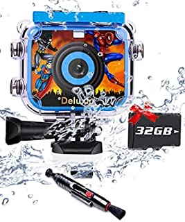DELUXIO Waterproof Camera for Kids Children Camera for Girls and Boys Digital Video Camera HD Cam Recorder Underwater Came...