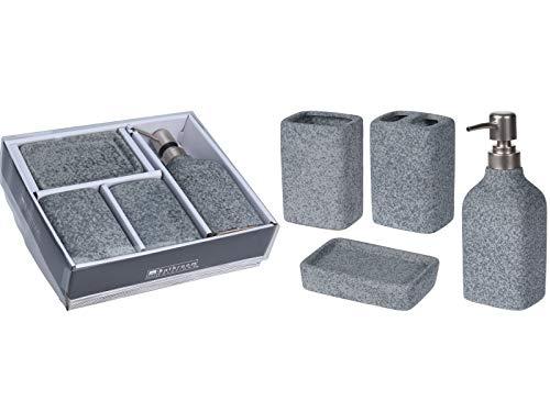 4 teiliges Badezimmer Hygiene Set in Zement Optik aus Keramik - Seifenspender, Seifenablage, Zahnbürstenbecher, Becher (grau)