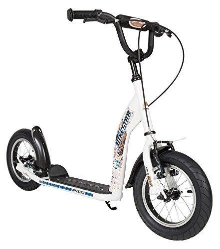 BIKESTAR Roller Kinderroller Tretroller Kickscooter mit Luftreifen für Jungen und Mädchen ab 6-7 Jahre | 12 Zoll Sport Kinder Scooter | Weiß | Risikofrei Testen