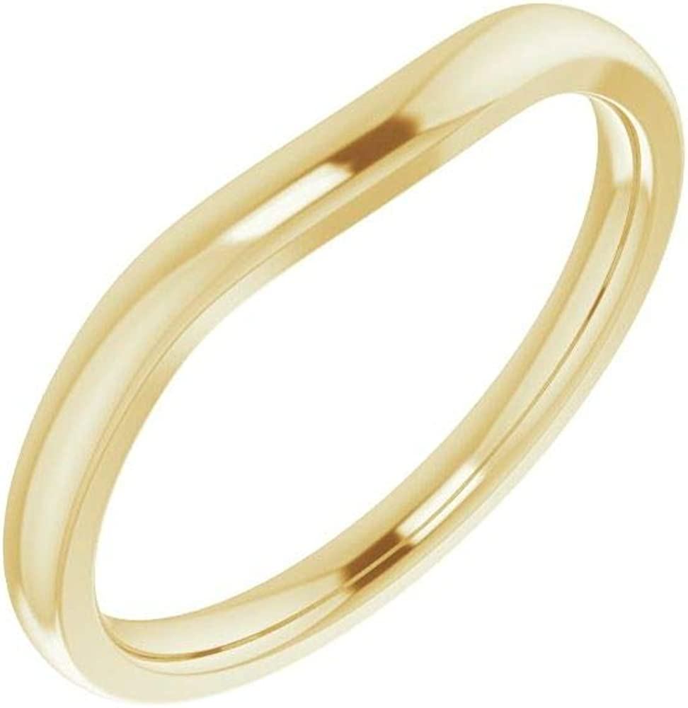 Solid 14k Yellow Limited time trial price Gold Dedication Matching Curved Notched Wedding for Band 9