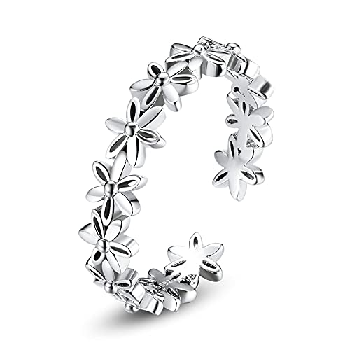 Anillo de plata 925 ajustable para damas - Anillo de dedo abierto de margarita pavimentada con encanto, joyería de tendencia de estilo simple para mujeres, regalo de fiesta de bodas
