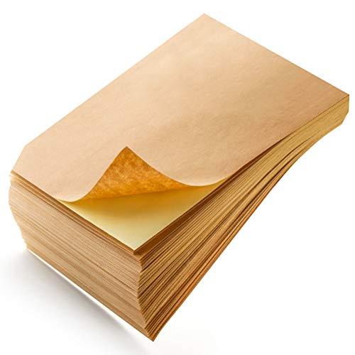 WOWOSS 100 Pezzi Carta Kraft Adesivo A4 80g, Fogli di Carta Kraft Adesivo per Scrivere, Disegnare e Stampante