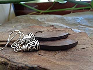 DROPS OF WOOD - ORECCHINI UNICI orecchini etno con cappuccio decorato di perle, orecchini etno tribali, marrone scuro
