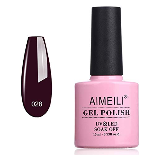 AIMEILI Smalto Semipermente Unghie in Gel UV LED Smalti per Unghie Colori per Manicure Soak Off - Burgundy Brown (028) 10ml