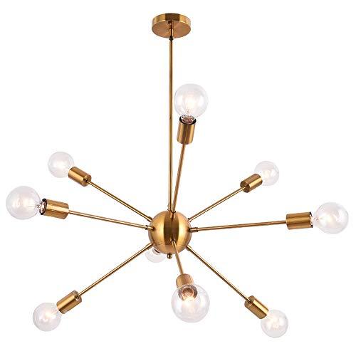 Lingkai Lámpara colgante moderna Sputnik Lámpara industrial Vintage Metal 9 tomas E27 Luces de techo para sala de estar Dormitorio Comedor Restaurante Lámparas colgantes Oro