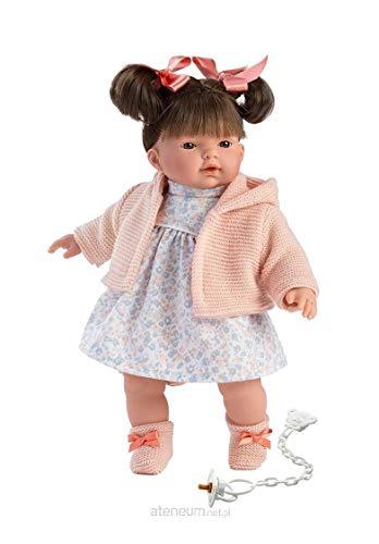 Llorens- Puppe Rita brünettem Haar, braunen Augen weichem Körper, Babypuppe mit Blumenkleid und Schnullerkette, 33 cm Muñeca, Multicolor (LL33104) , color/modelo surtido
