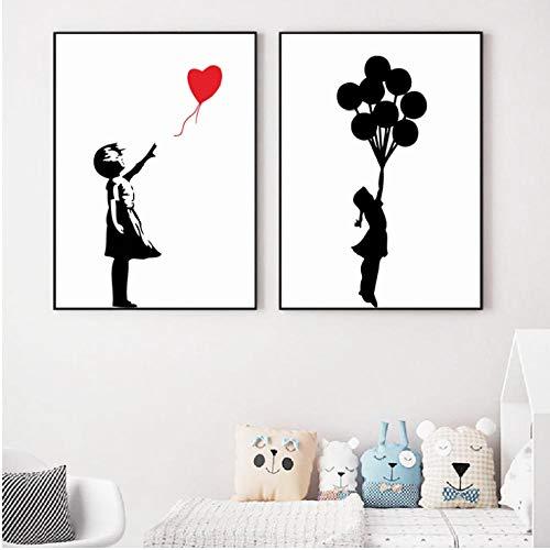 Meisje met Ballon Banksy muurschildering, kunstdruk, canvas, zwart en wit, muur, foto's, street art decoratie van het huis, 60 x 90 cm x 2 zonder lijst