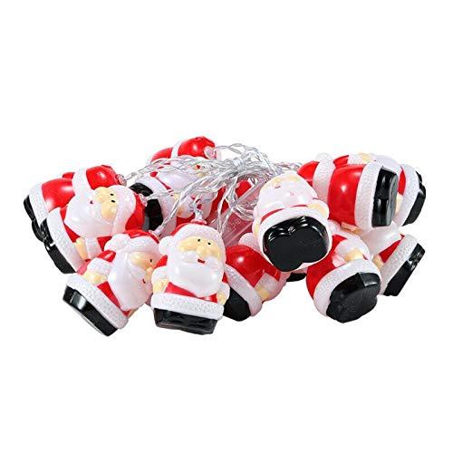 HHYSPA Weihnachtsmann-Lichterkette, wasserdicht, batteriebetrieben, warme Lichter, Weihnachtsmann-Party, LED-Lampe, Dekoration, Garten, Hof, 1,5 m, 10 Lichter