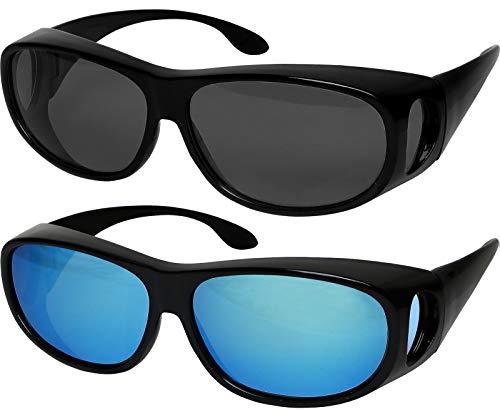 Success Eyewear Fit Over Sunglasses Polarized Lens Wear Over Prescription Eyeglasses 100% UV Protection for Men and Women, Set of Grey & Blue Mirror,...