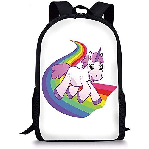 Hui-Shop Mochilas Escolares Decoración de Dibujos Animados, Baby Unicorn Runs on The Rainbow Criatura legendaria de fantasía mitológica con el Cuerno, Blanco Lila