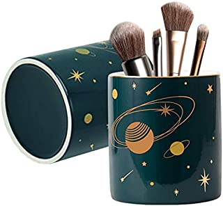 2 Pack Ceramic Round Pen Holder Stand,Star Universe Pattern Makeup Brush Holder for Girls Women,Desk Accessories Pencil Cup,Durable Desktop Organizer Pencil Holder Ideal Gift for Office Home(Green)