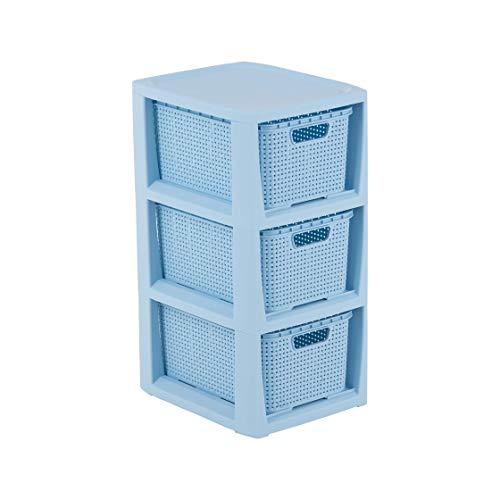 BranQ - Home essential Regal in Rattan Design, BPA-freier Kunststoff PP, Blau, 3 Körben