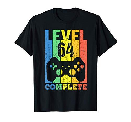 64 Años Cumpleaños Hombre Mujer Regalo Divertido Level 64 Camiseta