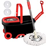 LETTON 360 Spin Mop Bucket with 2 Extra Microfiber Head Refills 2X Wheels 61inch Extended Handle Stainless Steel Drainage Basket for Home Floor Cleaning