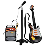 POXL Infantil Electrica Guitarra, 3 Piezas 6 Cuerdas Niños Guitarra Música Instrumentos con Micrófono y Altavoz para Principiantes Niño y Niña 3 años +