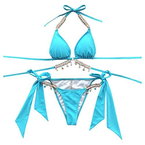 ZYZS Bikini para mujer con cordones en ambos lados, traje de baño sexy azul L