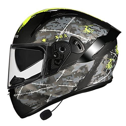 Bluetooth Integrado Casco de Moto Modular con Doble Visera Anti Niebla Cascos de Motocicleta para Adultos Hombres Mujeres Certificacion DOT/ECE B,M=55~57CM