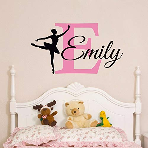 mlpnko Ballerina Wandtattoo Benutzerdefinierte Baby Mädchen Name Wandaufkleber Personalisierte Mädchen Schlafzimmer Wandkunst Dekoration 56x102 cm