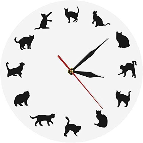 NIUMM Wanduhr Weiße Katzen MIAU Wanduhr Lustige Kätzchen Verschiedene Posen Mädchen Zimmer Wanddekor Liebhaber Moderne Wanduhr Lautlos Leicht Zu Lesen