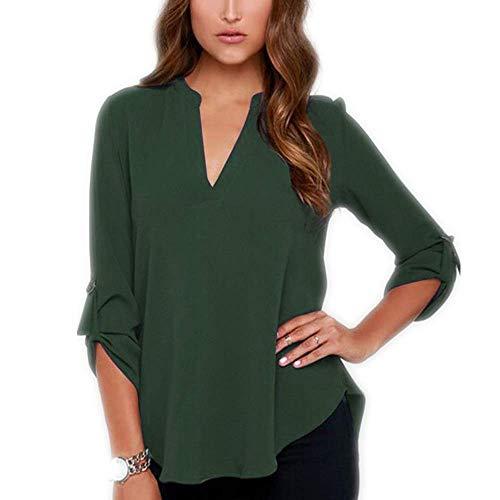 Herbst Plus Size Damen V-Ausschnitt Langarm Rüschen Solid Color Chiffon Shirt Lose T-Shirt Shirt