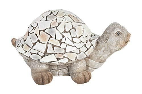 HEITMANN DECO große Keramik-Schildkröte zum Aufstellen - Dekofigur, Garten, Deko Wohnzimmer, Osterdeko, Frühlingsdeko - Taupe