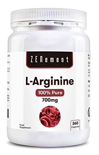L-Arginina 100% Pura, 700 mg, 360 Cápsulas | Vasodilatador, favorece el rendimiento atlético y el desarrollo muscular | Vegano, libre de aditivos, sin Gluten