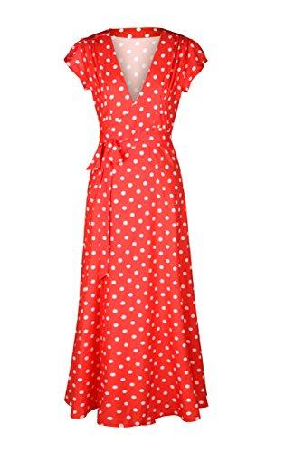 URVIP Damen's Maxikleid Wellen Punkt Abendkleid Strandkleid Sommerkleid 80208 Rot M