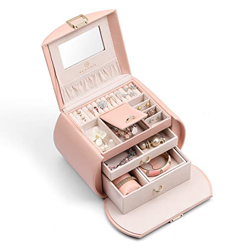 Vlando Mirrored Jewelry Box Organizers for Girls Women, Faux Leather Necklaces Earrings Rings Watch Storage Case (Pink)